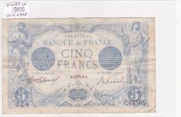 Billet De 5 Francs Bleu TTB Du 24/10/1916 SCORPION - C.14564 Alph 224 @ N° Fayette : 2.44 - 1871-1952 Anciens Francs Circulés Au XXème