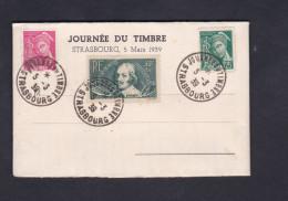 381 Chomeurs Intellectuels Callot 35c+10c 406 Mercure 5c 411 Mercure 25c Cad Journee Timbre Strasbourg Texte G. Stoskopf - 1921-1960: Modern Period