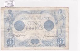 Billet De 5 Francs Bleu Du 17/11/1916 SAGITAIRE - J.14975 Alph 262 @ N° Fayette : 2.45 - 1871-1952 Anciens Francs Circulés Au XXème