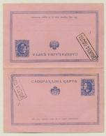 Serbia - 1876 - 2x10Pa Feldpost Karte - Blue In Pair - Servië