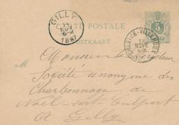 411/24 - Entier Postal Lion Couché CHASTRE VILLEROUX 1887 Vers GILLY - Wagon De Charbon à Livrer Station De CHASTRE - Stamped Stationery