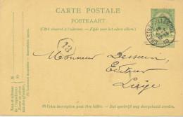 413/24 - Entier Postal Armoiries CHASTRE VILLEROUX 1910 Vers LIEGE - RARE Origine Manuscrite CORTIL NOIRMONT - Postcards [1909-34]