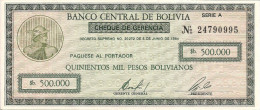 Bolivia P189, 500,000 Peso, Check-like Emergency Issue, Greek God Mercury - Bolivia