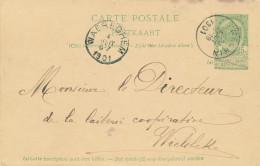 419/24 - Entier Postal Armoiries NECHIN 1901 Vers WIELBEKE Par WAEREGHEM - Signé Scufflaire Et Lefebvre - Stamped Stationery