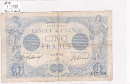 Billet De 5 Francs Bleu TTB Du 10/07/1916 LION INVERSE - A.12788 Alph 614 @ N° Fayette : 2bis.4  RARE Fauté !!! - 1871-1952 Anciens Francs Circulés Au XXème