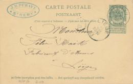 420/24 - Armurerie Liégeoise - Entier Postal Armoiries ARGENTEAU 1903 Vers LIEGE - Cachet J.B. Puraye à ST REMY - Stamped Stationery