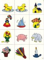 1 PLANCHE DE 12 IMAGES MATERNELLE ET CP CARTONNÉES 6,5X6,5cm COULEUR EDITIONS LES PLAISIRS ET LES JEUX VERS 1980/90 - Livres, BD, Revues