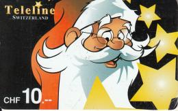 SWITZERLAND - Christmas, Santa Claus, Teleline Prepaid Card CHF 10, Used - Schweiz