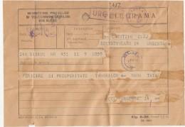 39990- TELEGRAMME SENT FROM SIBIU TO CLUJ NAPOCA, 1957, ROMANIA - Télégraphes