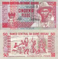 Guinea-Bissau P10, 50 Pesos, Maiame Drum, Pansau Na / Topless Women, Caldron UNC - Guinee-Bissau