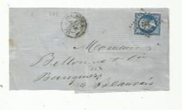 FRANCE  :  Empire  No 14  Type II  Sur Devant De Lettre Du 13 02 1862    PC 322   Beaumont Sur Oise (72) - Marcophilie (Lettres)