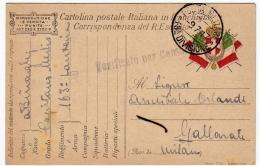 CARTOLINA POSTALE ITALIANA IN FRANCHIGIA - CORRISPONDENZA DEL R. ESERCITO - POSTA MILITARE - 1917 - Guerra 1914-18