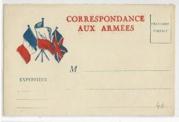 1939/45 - CARTE FM TYPE DRAPEAUX FRANCE POLOGNE GB - Poststempel (Briefe)