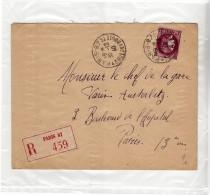 PARIS 87 - 1940 - RECOMMANDEE R 459 - 43 RUE DES BOULETS - TYPE CERES 3F - Marcophilie (Lettres)