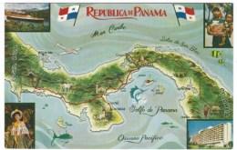 Panama, Canal Zone, Map, C1970s/80s Vintage Postcard - Panama