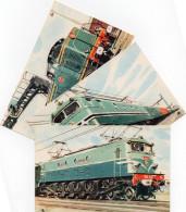 3 CARTES CPM Train Locomotive Différent Diesel Electrique Type 040 DE SNCF VOIR SCANNES RECTO VERSO DES CARTES - Eisenbahnen