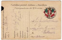 CARTOLINA POSTALE ITALIANA IN FRANCHIGIA - CORRISPONDENZA DEL R. ESERCITO - POSTA MILITARE - Guerre 1914-18