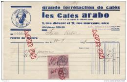 Au Plus Rapide Timbre Fiscal Sur Facture Nice Cafés Arabo 10 Sept 1938 - Fiscaux