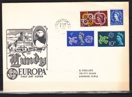 Lundy 1961,7V On FDC,Europa 8 December 1961,Used/Gestempeld(L2295) - Zonder Classificatie