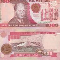 Mozambique P135, 1,000 Meticais, Flag Cerimony/ Star Monument, UNC See UV - Mozambique
