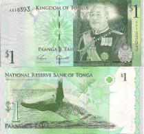 Tonga P37a, 1 Pa'anga, King George Tupou V / Whale Leaping From Water - See UV - Tonga