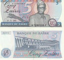Zaire P26A, 5 Zaires, Mobutu / Hydroelectric Dam On Congo River, UNC - Zaire