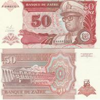 Zaire P57, 50 Nouveaux Zaires, Mobutu / Hydroelectric Dam On Congo River, UNC - Zaïre