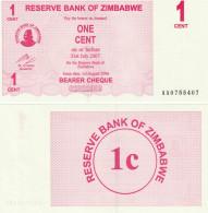 Zimbabwe P33, 1 Cent, Bearer Cheque, UNC, 2006, See UV & Watermark Images - Zimbabwe