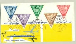 Suriname - 1960 - Driehoek Zegels Vliegveld Zanderij Op FDC - Suriname ... - 1975