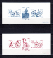 """FRANCE 2011 : 2 Gravures Officielles """" LE VELOCIPEDE DES ORIGINES A NOS JOURS """"  N° YT 4555 à 4560. Parf état"""