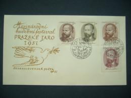 FDC Czechoslovakia 1951 - Stamp Mi 665-668 - POF 593-596 - International Music Festival Prague Spring (Dvorak, Smetana) - FDC