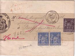 SAGE - VESOUL - HTE SAONE - 27-11-1885 - 15c PAIRE + 10c SAGE - RETOUR A L´ENVOYEUR 74 EN ROUGE - MANQUE VERSO DE LA BAN - Storia Postale