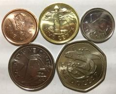 Barbados  Set 5 Coins, 1, 5, 10, 25 Cents, 1 Dollar,  UNC - Barbades