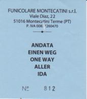 Biglietto Andata Funicolare Di Montecatini - Tram