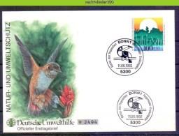 Ncz090b FAUNA VOGELS KOLIBRI HUMMINGBIRD ENVIRONMENT UMWELTHILFE BIRDS VÖGEL AVES OISEAUX DEUTSCHE BUNDESPOST 1992 FDC - Milieubescherming & Klimaat