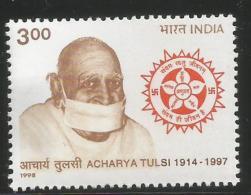 India 1998, Acharya Tulsi, Jainism, Jain, Religion, Inde,1v  MNH, - Hinduism