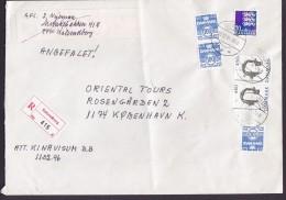 Denmark Registered Einschreiben Label KALUNDBORG 1995 Cover Brief Archaeological Finding Tänzerin Dancer (2 Scans) - Dänemark