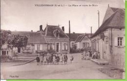 -- 37--  VILLEDOSMAIN -- LA PLACE ET ROUTE DE BLOIS -- ANIMATION -- 1955 - Autres Communes