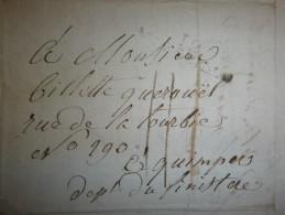 Lettre De Marseille Pour Quimper Cachet MARSEILLE, 12 (peu Marqué) De 1809 - Port 11 - Marcophilie (Lettres)