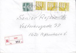 Denmark Registered Einschreiben Label VEJLE 1998 Cover Brief 3-Stripe 10.00 Kr. Lion Löwe Arms Stamps - Dänemark