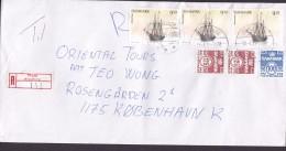"""Denmark Registered Einschreiben Label THURØ (Svendborg) 1995 Cover Brief 3x 9.50 Kr. Schiff Ship """"Marylin Anne"""" Stamps - Dänemark"""