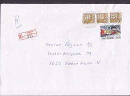 Denmark Registered Einschreiben Label FREDERICIA (Erritsø) 1998 Cover Brief 3x 9.00 Kr. Lion Löwe Arms Stamps - Dänemark