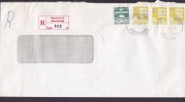Denmark Registered Einschreiben Label NÆSTVED 4 (Næstved) 1998 Cover Brief 3x 10.00 Kr. Lion Löwe Arms Stamps - Dänemark