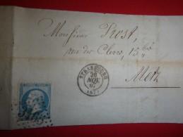 Y Et T  N°29 Bleu Sur Lettre De Strasbourg Pour Metz, Cachet Losange, Gros Chiffres 3465 (envoi De Choucroute) - Marcophilie (Lettres)