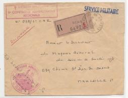 """1968 - ENVELOPPE FM RECOMMANDEE Du BCMB BUREAU CENTRAL MILITAIRE """"B"""" à MARSEILLE - Bolli Militari A Partire Dal 1940 (fuori Dal Periodo Di Guerra)"""