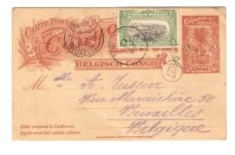 Belgisch Congo Belge Entier CP 5 C + 5 C Mols C.Pweto Katanga Faible En 1912 V.Bruxelles C.d'arrivée PR3066 - Entiers Postaux