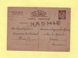 Entier Iris Destination Tunisie - Inadmis Retour A L Envoyeur - 20 Janv 1841 - Marcophilie (Lettres)