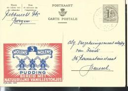 Publibel Obl. N° 1309 ( Molens 3 Molens  PUDDING) Obl: Bornem  1955 - Stamped Stationery