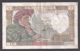 50 F JACQUES COEUR  Du  13 - 6 - 1940 - 1871-1952 Antiguos Francos Circulantes En El XX Siglo