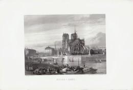 1856 - Gravure Sur Acier - Paris (1er Arrondissement) - La Cathédrale Notre-Dame - FRANCO DE PORT - Estampas & Grabados
